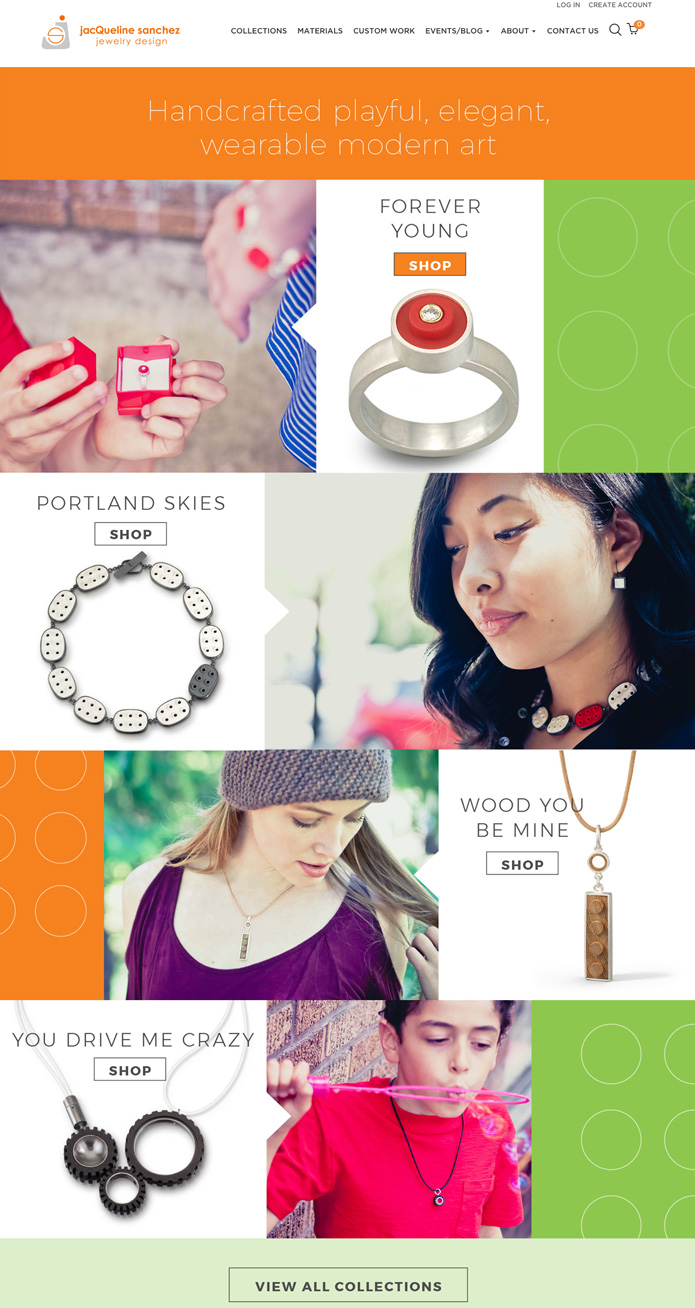 Homepage design for jewelry designer who uses LEGO pieces in her work.