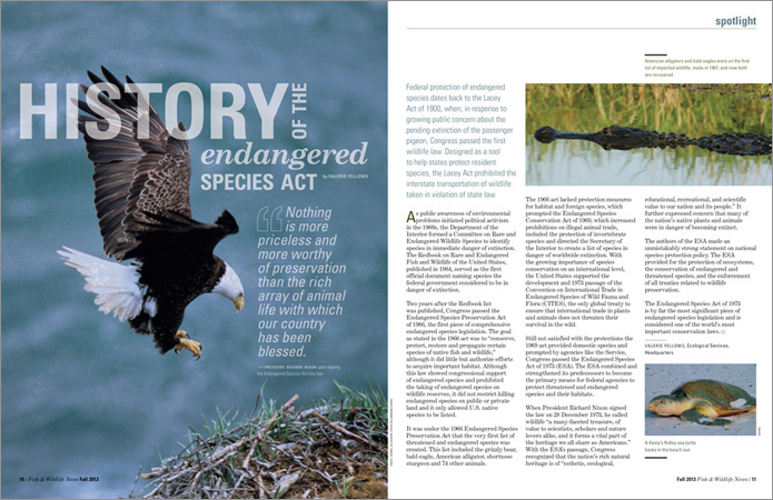 Feature story spread for U.S. Fish & Wildlife magazine. // Allegro Design