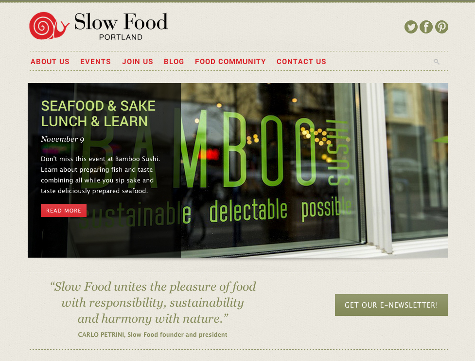 Website design for Slow Food Portland. Allegro Design