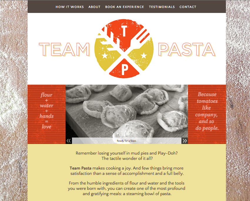 Website design for pasta making workshop. Allegro Design