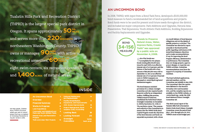 Nonprofit annual report spread | Allegro Design | Portland, OR
