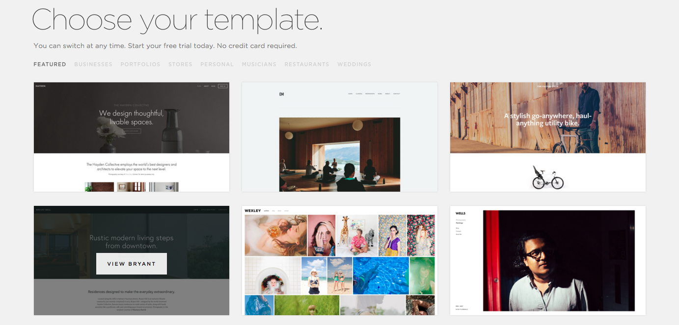 Example of SquareSpace templates