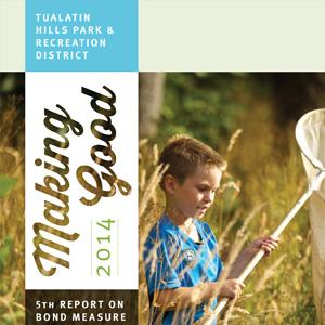 Annual report design for park district. Allegro Design, Portland, OR