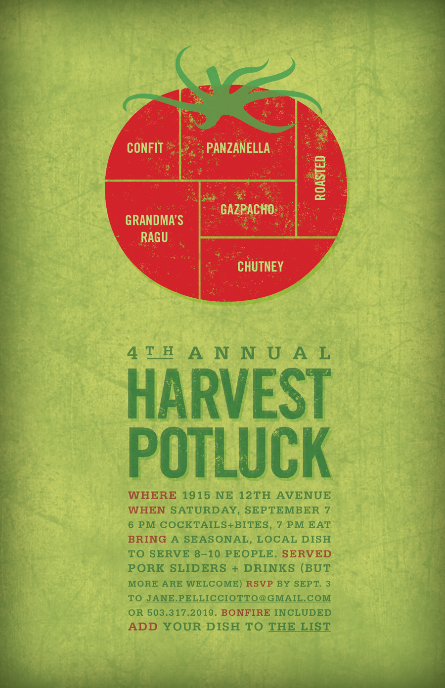 Invitation design for seasonal potluck gathering. Allegro Design
