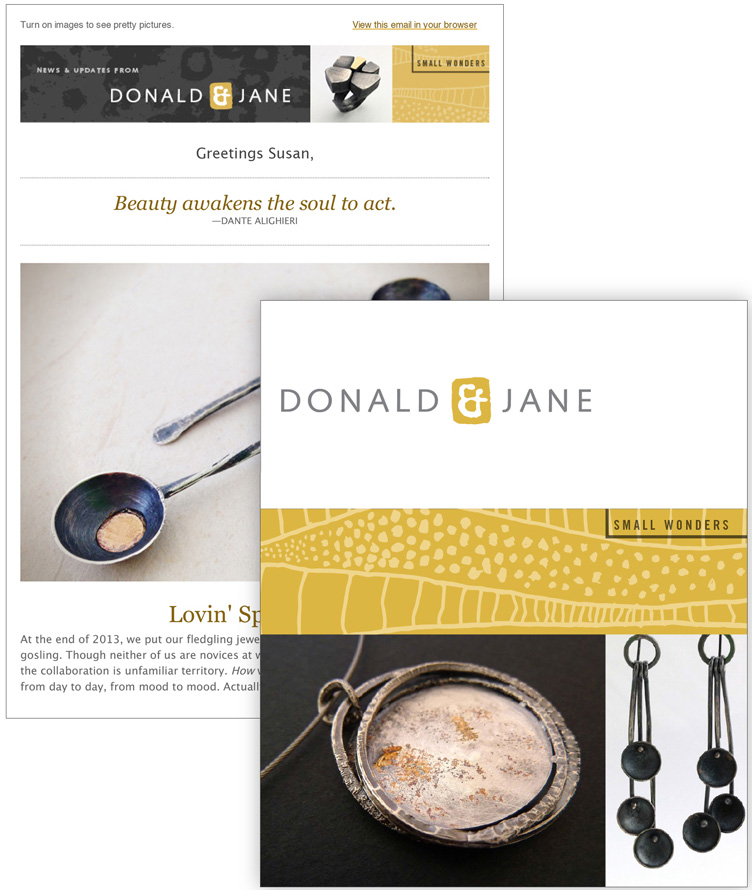 brand identity for a jewelry line, e-newsletter and table card  | Allegro Design | Portland, OR