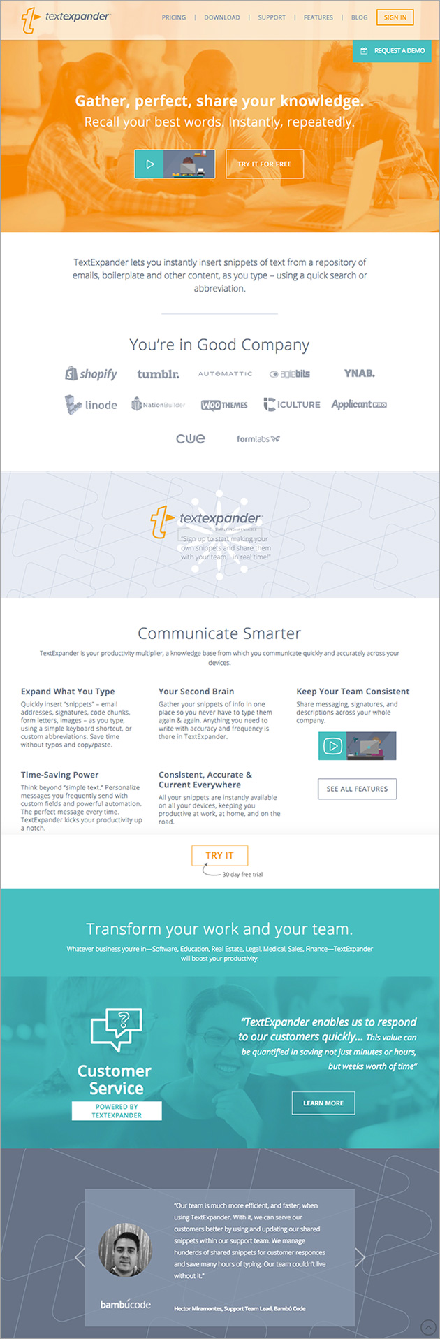 Website design for TextExpander app. Allegro Design